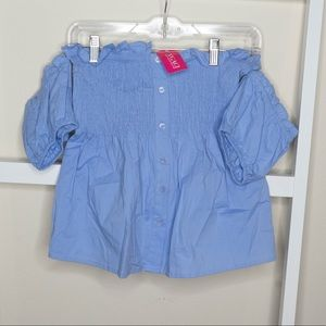 Smocked Off Shoulder Top (Blue)